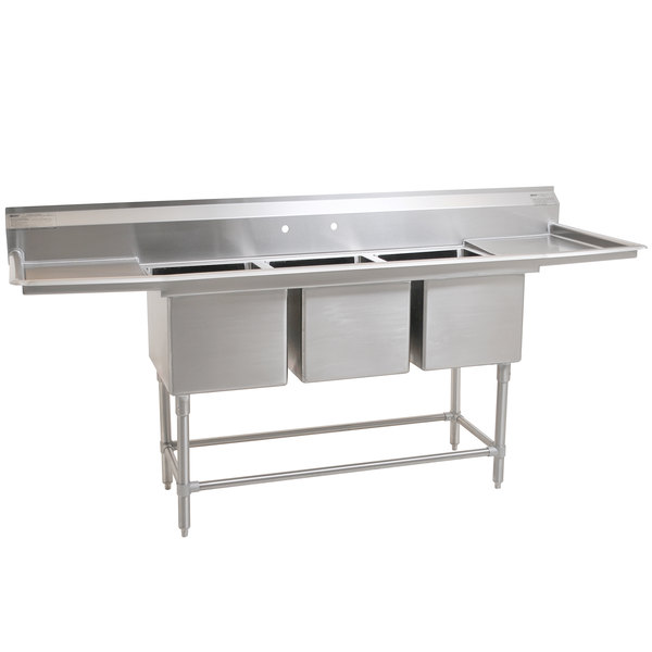"Eagle Group FN2472-3-24-14/3 Three 24"" x 24"" Bowl Stainless Steel Spec-Master Commercial Compartment Sink with Two 24"" Drainboards"