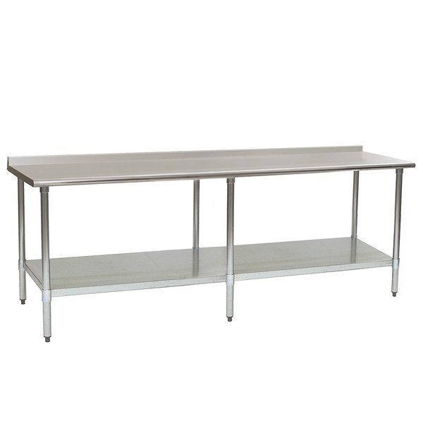 """Eagle Group UT3696E 36"""" x 96"""" Stainless Steel Work Table with Undershelf and 1 1/2"""" Backsplash"""