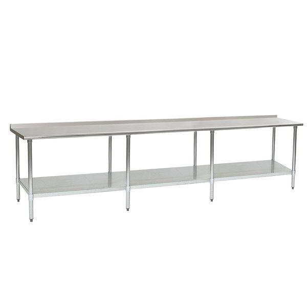 "Eagle Group UT30144SB 30"" x 144"" Stainless Steel Work Table with Undershelf and 1 1/2"" Backsplash Main Image 1"