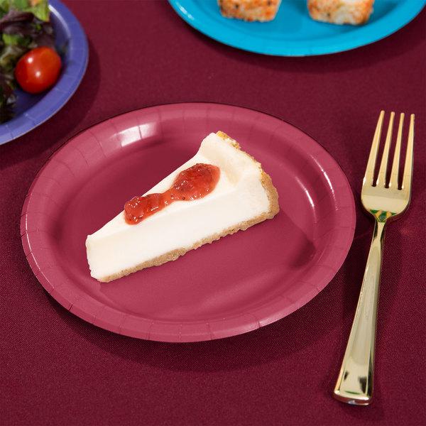 "Creative Converting 793122B 7"" Burgundy Paper Plate - 240/Case Main Image 2"