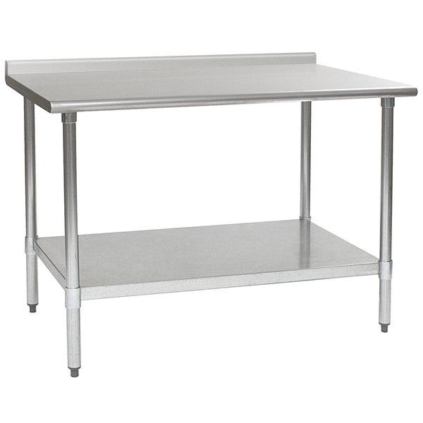 "Eagle Group UT3060SEB 30"" x 60"" Stainless Steel Work Table with Undershelf and 1 1/2"" Backsplash Main Image 1"