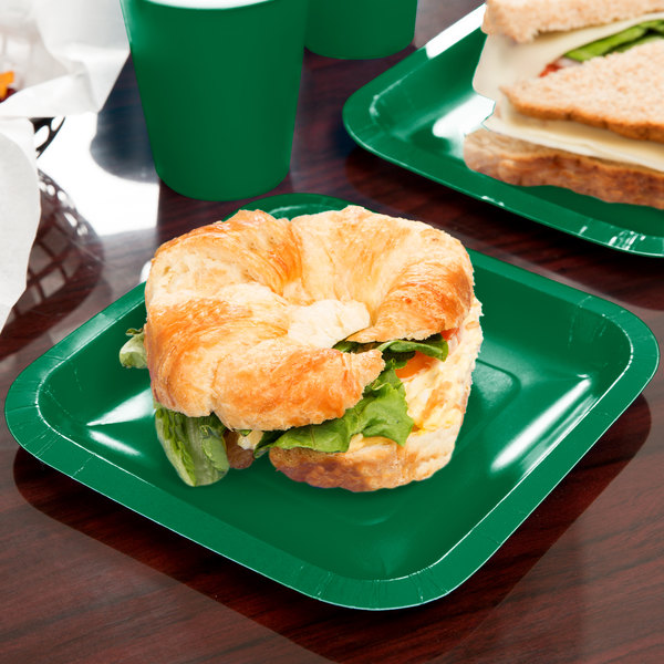"Creative Converting 453261 7"" Emerald Green Square Paper Plate - 180/Case Main Image 3"