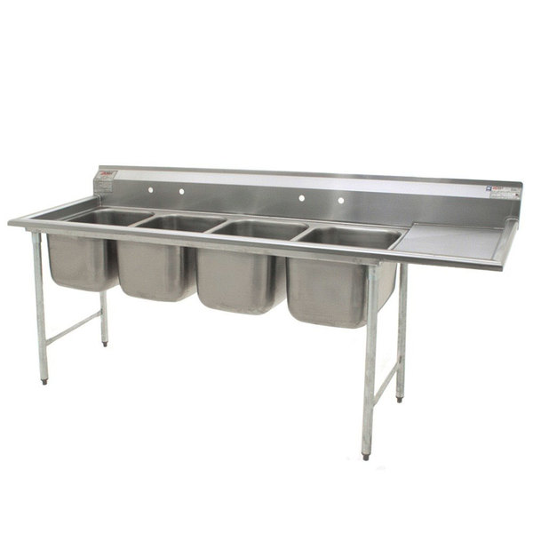 "Eagle Group FN2080-4-24-14/3 Four 20"" x 20"" Bowl Stainless Steel Spec-Master Commercial Compartment Sink with 24"" Drainboard"