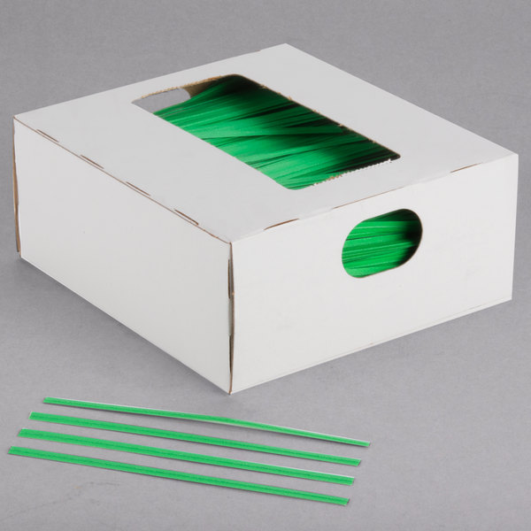 "Bedford Industries Inc. 4"" Green Laminated Bag Twist Ties - 2000/Box Main Image 1"