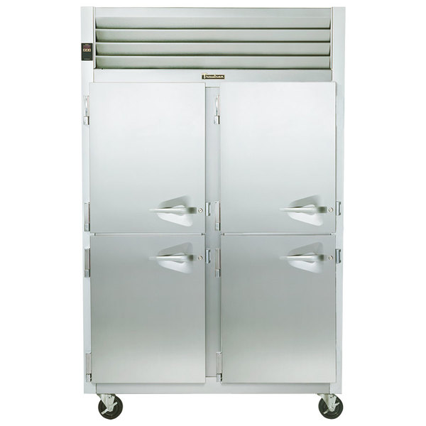 Traulsen G24305P 2 Section Pass-Through Half Door Hot Food Holding Cabinet with Left Hinged Doors Main Image 1