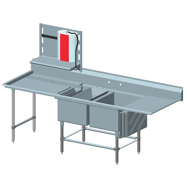"""Right Drainboard Eagle Group FNP284021848T Two 28"""" x 20"""" Bowl Stainless Steel Spec-Master Commercial Compartment Prep Sink with 18"""" Drainboard"""