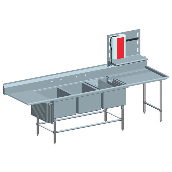 """Left Drainboard Eagle Group FNP286031848T Three 28"""" x 20"""" Bowl Stainless Steel Spec-Master Commercial Compartment Prep Sink with 18"""" Drainboard"""
