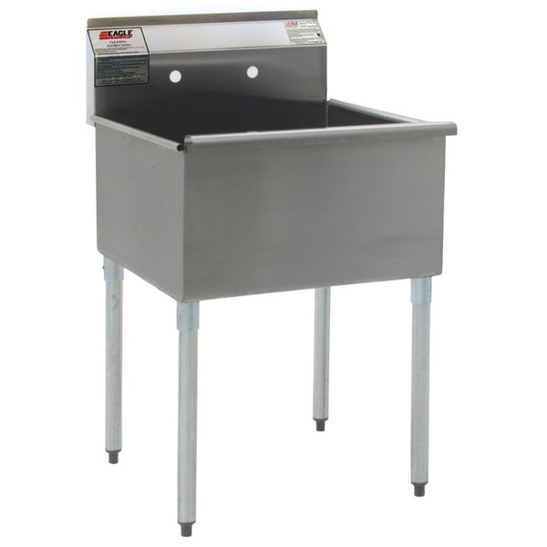 """Eagle Group 2424-1-24-16/4 One Compartment Stainless Steel Commercial Sink with Two Drainboards - 72 1/4"""""""