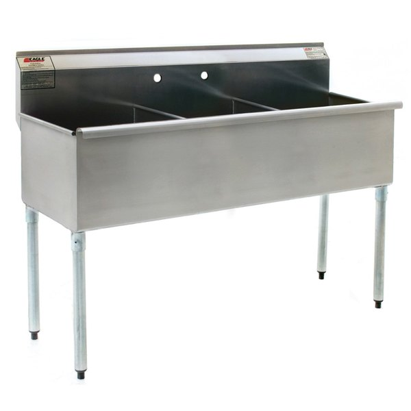 """Eagle Group 1836-3-16/3 Three Compartment Stainless Steel Commercial Sink without Drainboard - 37 3/8"""""""