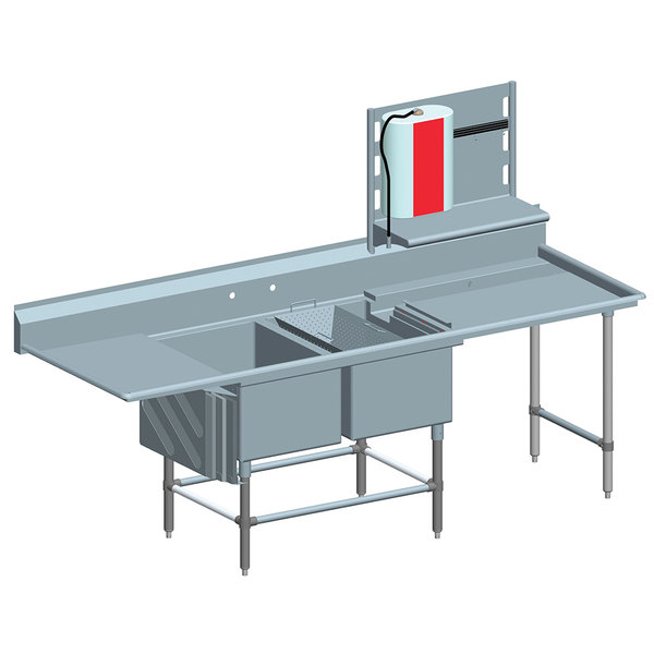 """Left Drainboard Eagle Group FNP284022448T Two 28"""" x 20"""" Bowl Stainless Steel Spec-Master Commercial Compartment Prep Sink with 24"""" Drainboard"""