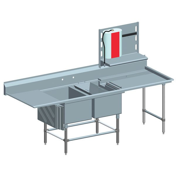 """Left Drainboard Eagle Group FNP284021848T Two 28"""" x 20"""" Bowl Stainless Steel Spec-Master Commercial Compartment Prep Sink with 18"""" Drainboard"""
