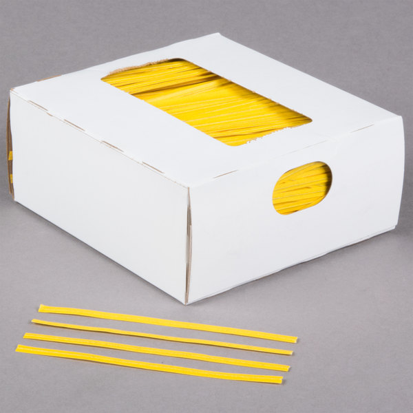 "Bedford Industries Inc. 4"" Yellow Laminated Bag Twist Ties - 2000/Box Main Image 1"