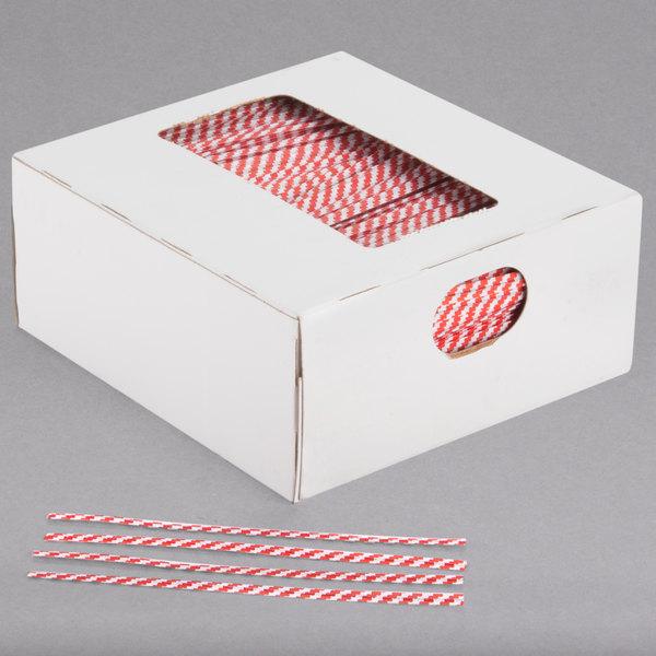 "Bedford Industries Inc. 4"" Red Stripe Laminated Bag Twist Ties - 2000/Box Main Image 1"