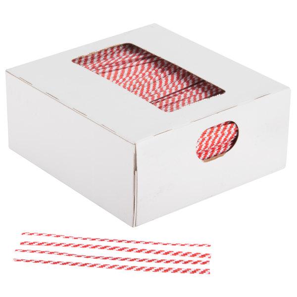 "Bedford Industries Inc. 4"" Red Stripe Laminated Bag Twist Ties - 2000/Box"