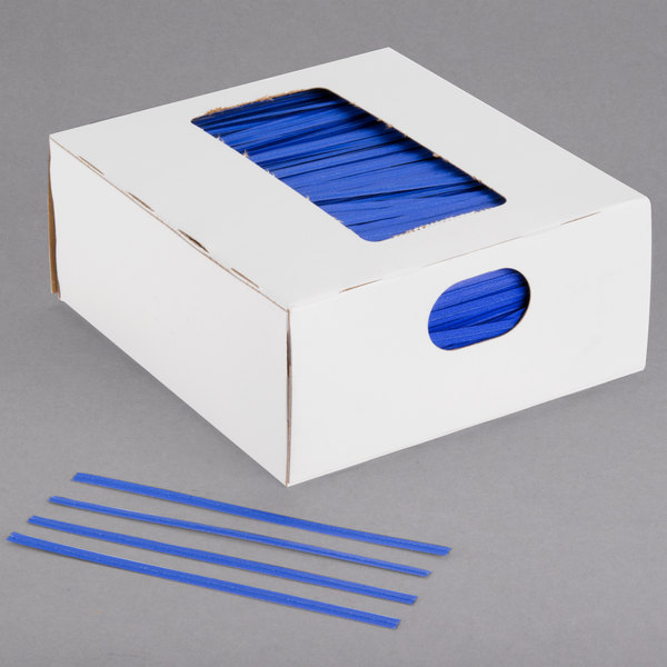 "Bedford Industries Inc. 4"" Blue Laminated Bag Twist Ties - 2000/Box Main Image 1"