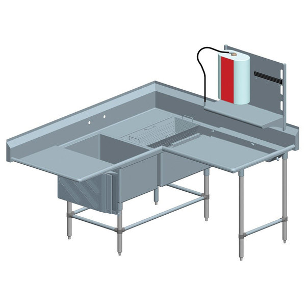"""Eagle Group FNPCR284022448T Two 28"""" x 20"""" Bowl Stainless Steel Spec-Master Commercial Corner Compartment Prep Sink with Right Side Prep Area and 24"""" Drainboard"""