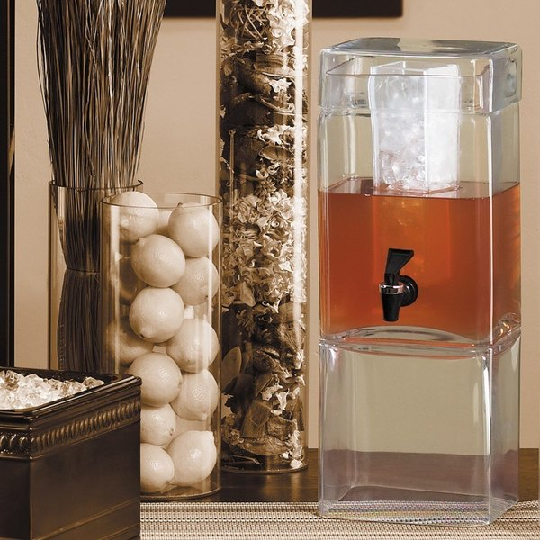 Cal-Mil 1112-1 1.5 Gallon Square Glass Beverage Dispenser with Ice Chamber