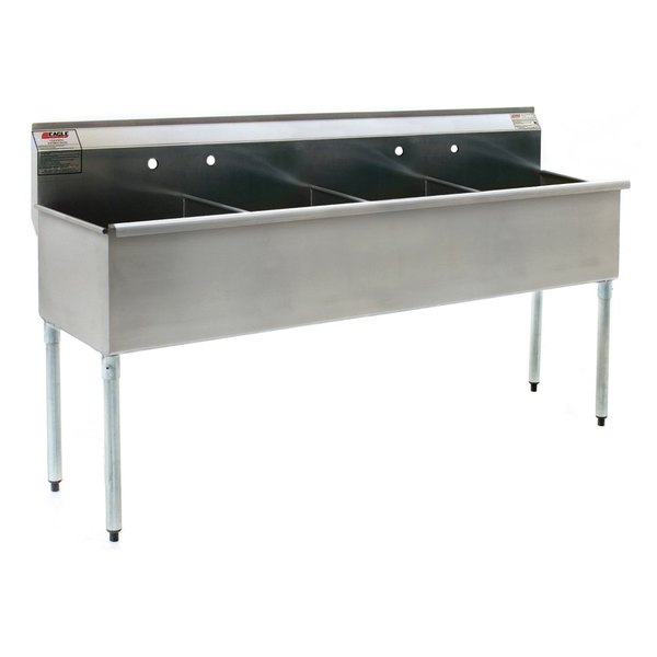 """Eagle Group 2172-4-18-16/3 Four Compartment Stainless Steel Commercial Sink with Two Drainboards - 108 1/4"""""""