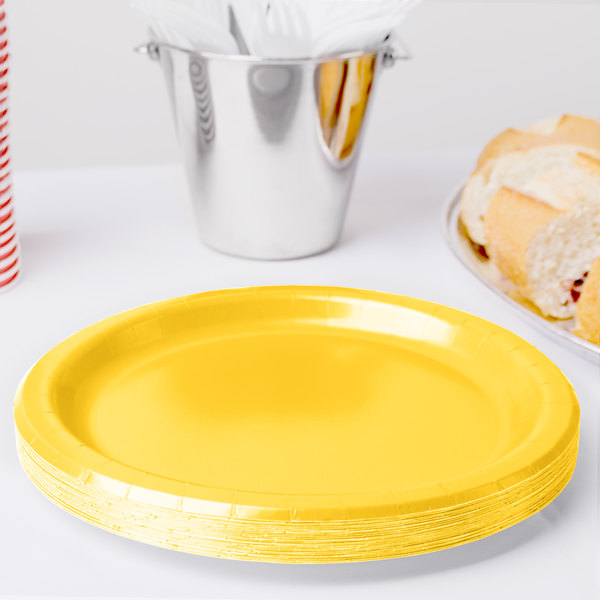 "Creative Converting 471021B 9"" School Bus Yellow Paper Plate - 240/Case"