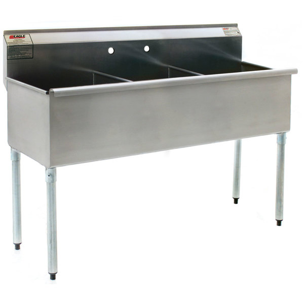 """Eagle Group 1848-3-16/4 Three Compartment Stainless Steel Commercial Sink without Drainboard - 49 3/8"""""""