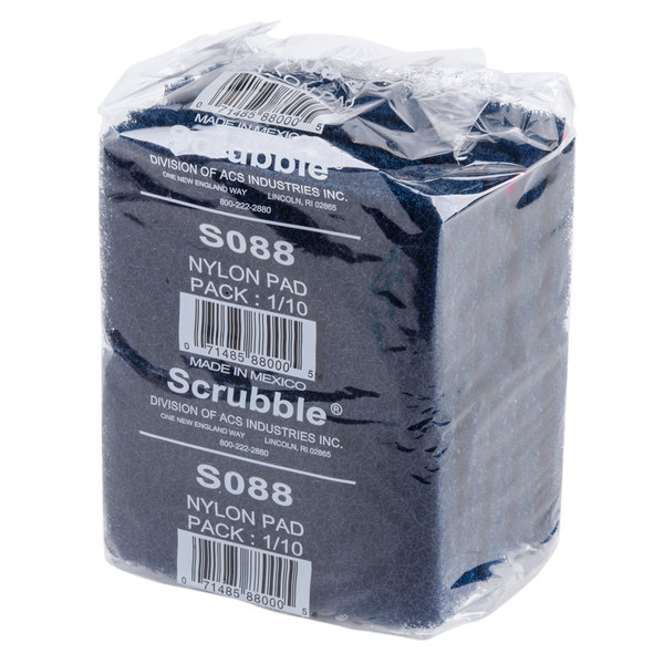 """Scrubble by ACS S088 6"""" x 3 1/2"""" Extra Heavy-Duty Blue Scouring Pad - 10/Pack"""