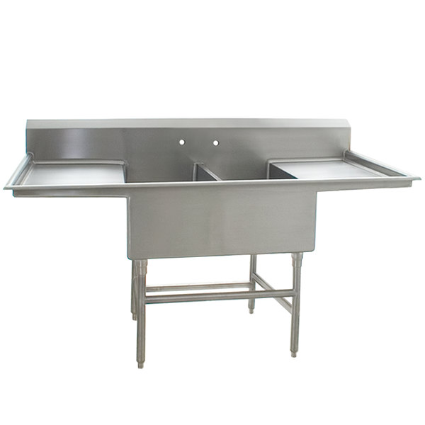 """Eagle Group FFN2736-2-24-14/3 Two 27"""" x 18"""" Bowl Stainless Steel Spec-Master Flush Front Commercial Compartment Sink with Two 24"""" Drainboards"""