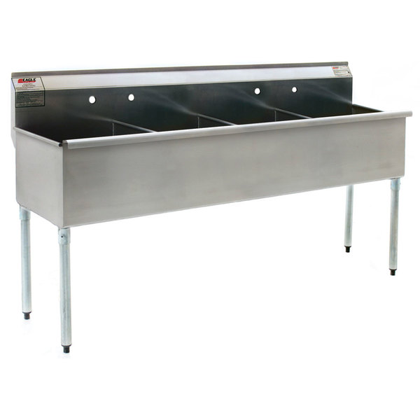 Eagle Group 2472-4-16/3 Four Compartment Stainless Steel Commercial Sink without Drainboard - 73 3/8""