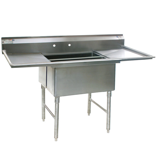 """Eagle Group SFN2832-2-18-14/3 Two 32"""" x 14"""" Sideways Bowl Stainless Steel Spec-Master Commercial Compartment Sink with Two 18"""" Drainboards"""