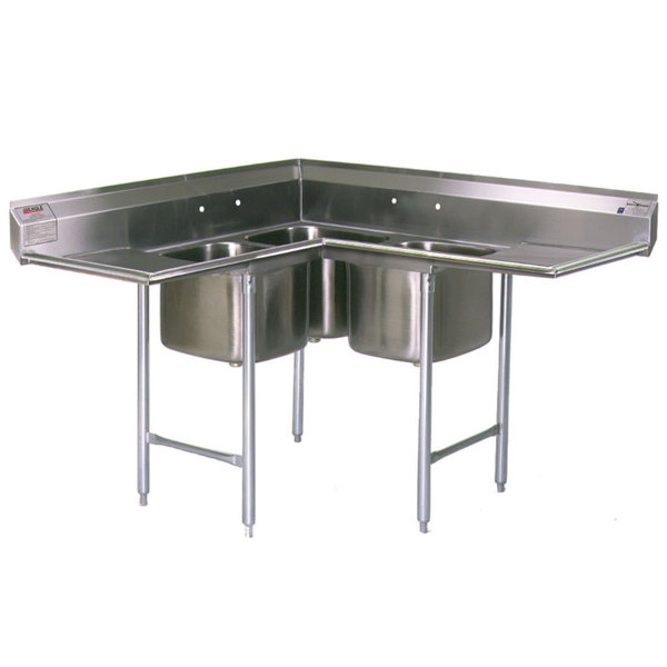 """Eagle Group C314-22-3-18 Three 22"""" x 22"""" Bowl Stainless Steel Commercial Compartment Sink with Two 18"""" Drainboards"""