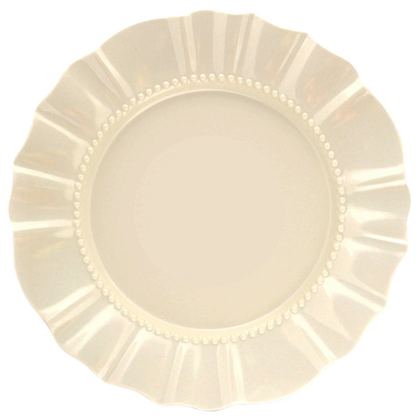 "Elite Global Solutions D91 Country Fixin's Antique White 9 5/8"" Round Melamine Plate"