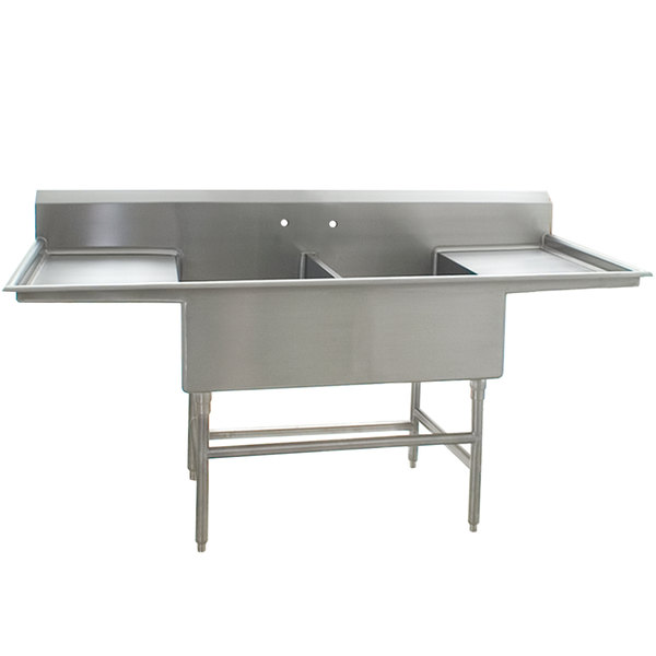 """Eagle Group FFN2748-2-24-14/3 Two 27"""" x 24"""" Bowl Stainless Steel Spec-Master Flush Front Commercial Compartment Sink with Two 24"""" Drainboards Main Image 1"""