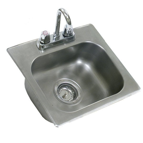 """Eagle Group SR19-16-8-1 One Compartment Stainless Steel Drop-In Sink with Deck Mount Faucet and Swing Nozzle - 20"""" x 16"""" x 8"""" Bowl"""
