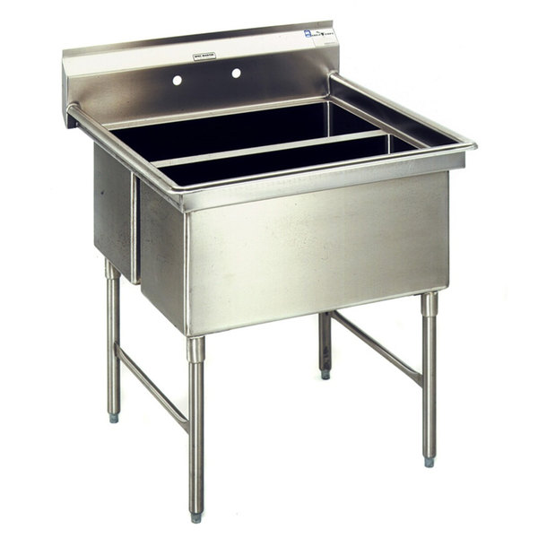 """Left Drainboard Eagle Group SFN3052-3-18-14/3 Two 32"""" x 14"""" Sideways and One 20"""" x 30"""" Regular Bowl Stainless Steel Spec-Master Commercial Compartment Sink with 18"""" Drainboard"""