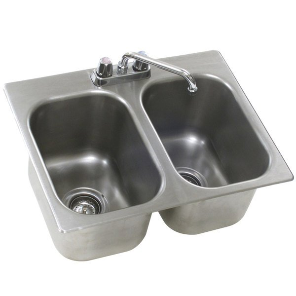 """Eagle Group SR22-22-13.5-2 Two Compartment Stainless Steel Drop-In Sink with Deck Mount Faucet and Swing Nozzle - 22"""" x 22"""" x 13 1/2"""" Bowls Main Image 1"""