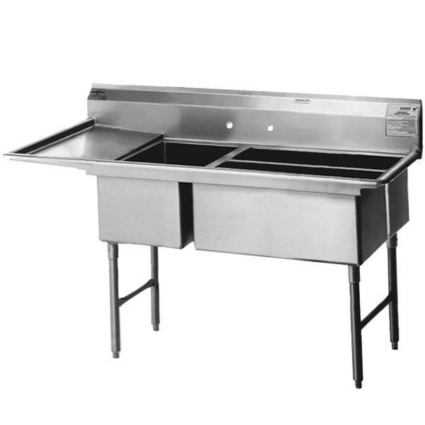 """Left Drainboard Eagle Group SFN3242-3-18-14/3 Three 32"""" x 14"""" Sideways Bowl Stainless Steel Spec-Master Commercial Compartment Sink with 18"""" Drainboard"""