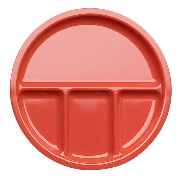 "Elite Global Solutions DC1050 Rio 10 1/2"" Spring Coral Round Four Compartment Melamine Dish - 6/Case"