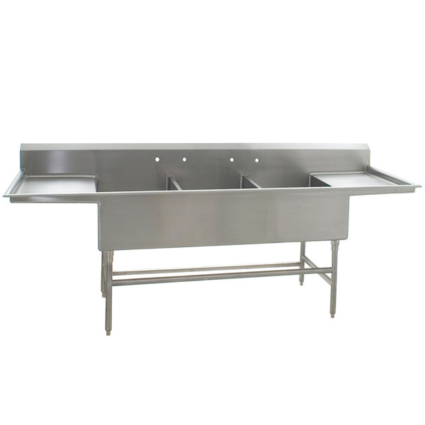 """Eagle Group FFN2754-3-24-14/3 Three 27"""" x 18"""" Bowl Stainless Steel Spec-Master Flush Front Commercial Compartment Sink with Two 24"""" Drainboards"""