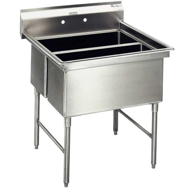 """Eagle Group SFN2832-2-14/3 Two 32"""" x 14"""" Sideways Bowl Stainless Steel Spec-Master Commercial Compartment Sink Main Image 1"""