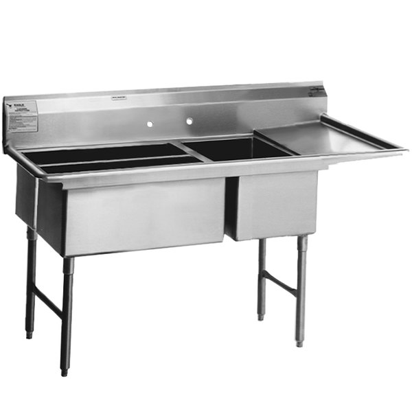 "Right Drainboard Eagle Group SFN3242-3-18-14/3 Three 32"" x 14"" Sideways Bowl Stainless Steel Spec-Master Commercial Compartment Sink with 18"" Drainboard"
