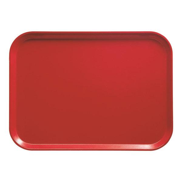 "Cambro 1014510 10 5/8"" x 13 3/4"" Rectangular Signal Red Customizable Fiberglass Camtray - 12/Case"