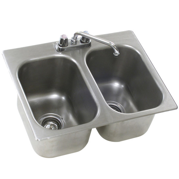 """Eagle Group SR14-16-9.5-2 Two Compartment Stainless Steel Drop-In Sink with Deck Mount Faucet and Swing Nozzle - 14"""" x 16"""" x 9 1/2"""" Bowls Main Image 1"""