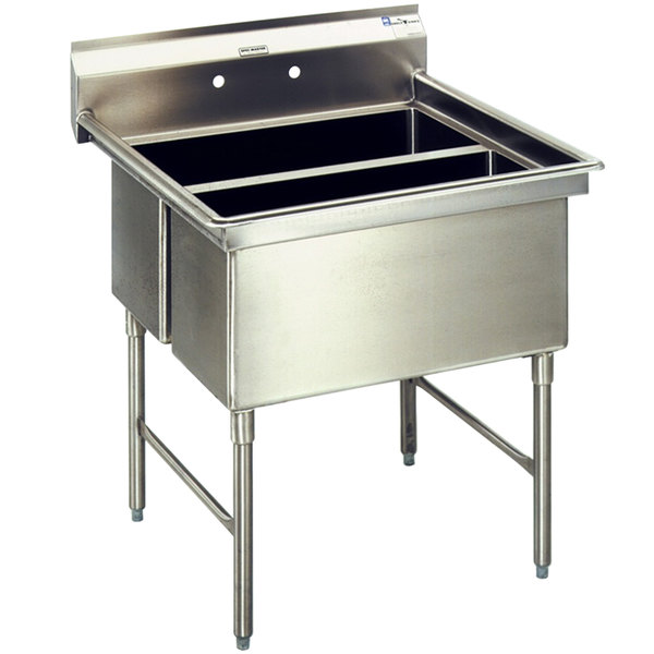 """Left Drainboard Eagle Group SFN2832-2-18-14/3 Two 32"""" x 14"""" Sideways Bowl Stainless Steel Spec-Master Commercial Compartment Sink with 18"""" Drainboard"""