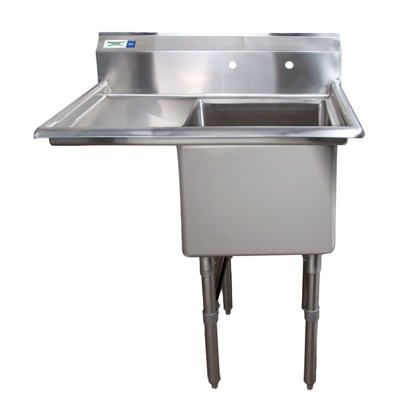 "Left Drainboard Regency 38 1/2"" 16-Gauge Stainless Steel One Compartment Commercial Sink with 1 Drainboard - 18"" x 18"" x 14"" Bowl"