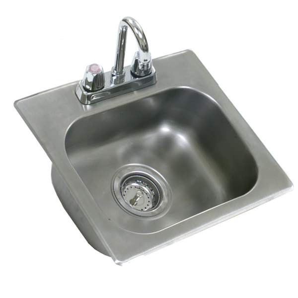 """Eagle Group SR16-14-9.5-1 One Compartment Stainless Steel Drop-In Sink with Deck Mount Faucet and Gooseneck Nozzle - 16"""" x 14"""" x 9 1/2"""" Bowl Main Image 1"""