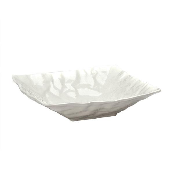 Elite Global Solutions M12123 Crinkled Paper Display White 3 Qt. Square Melamine Bowl