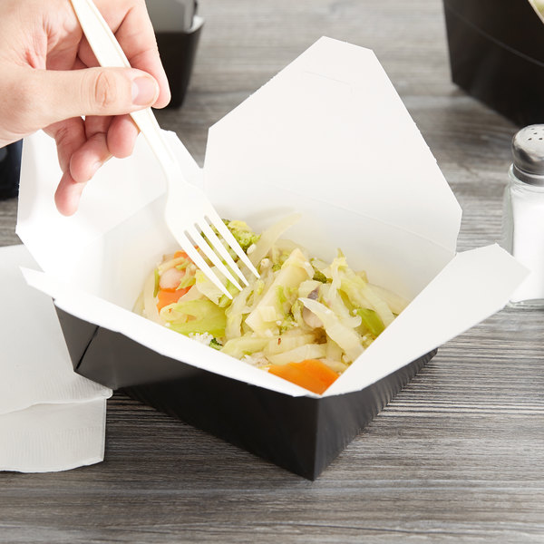 """Bio-Pak 08BPBLACKM 6"""" x 5"""" x 2 1/2"""" Black Paper #8 Microwavable Take-Out Container - 300/Case Main Image 3"""