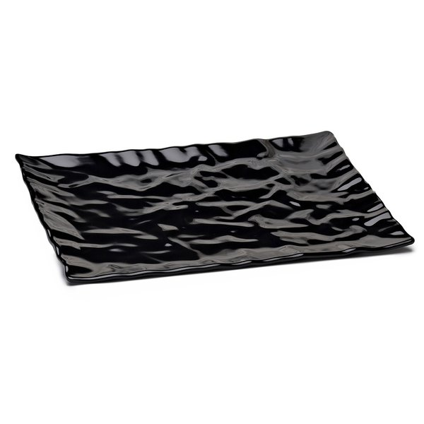 "Elite Global Solutions M11181 Crinkled Paper Black 18"" x 11 1/2"" Rectangular Melamine Tray"