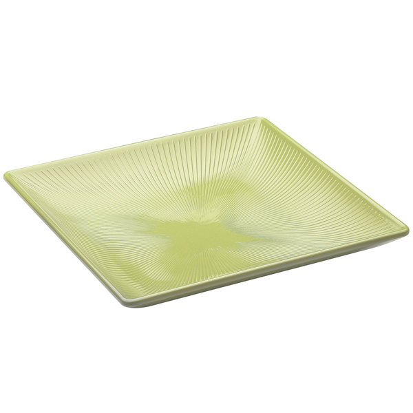 "Elite Global Solutions M11SQT Sunburst Weeping Willow Green 11"" Square Melamine Tray"
