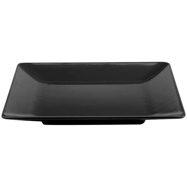 "Elite Global Solutions M1111SQ Symmetry Black 11 1/2"" Square Melamine Plate"
