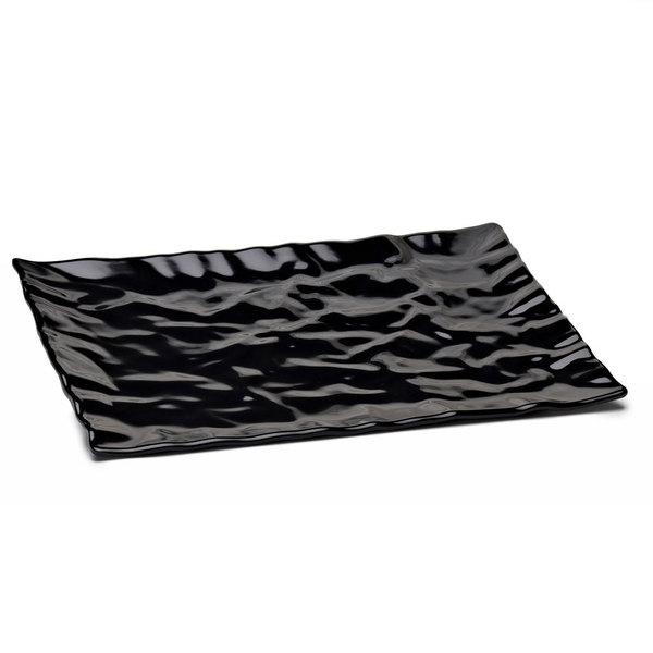 """Elite Global Solutions M1471 Crinkled Paper Black 14 7/8"""" x 7 5/8"""" Rectangular Melamine Tray"""